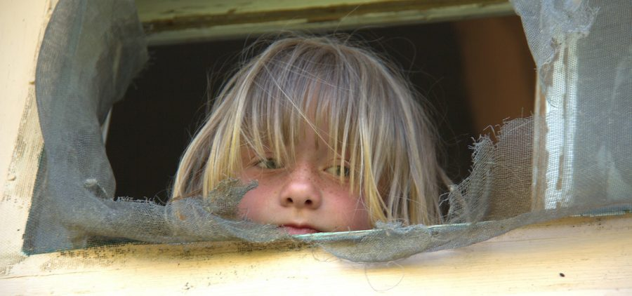 Young girl looking out tattered screen window