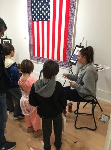 Children at Flag Station during Kennedy Museum event