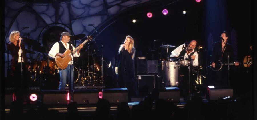 Fleetwood Mac performs songs from their best-selling 1977 album Rumours in a 20th anniversary reunion concert in Los Angeles.
