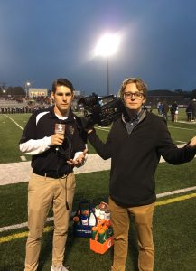 Blake Baker and Tyler Corbit covering a game