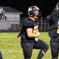 Belpre Golden Eagles defender celebrates after making a tackle in a game against the Eastern Eagles on November 1, 2019