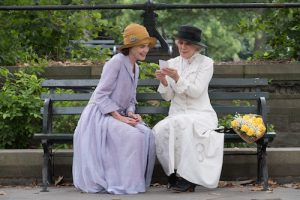 Ladies sitting on park bench