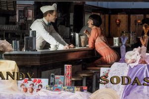 Couple flirting in old fachioned soda shop