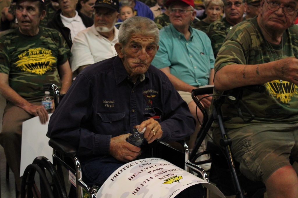 Retired Kentucky miner Virgil Stanley at a UMWA rally for pension protections.