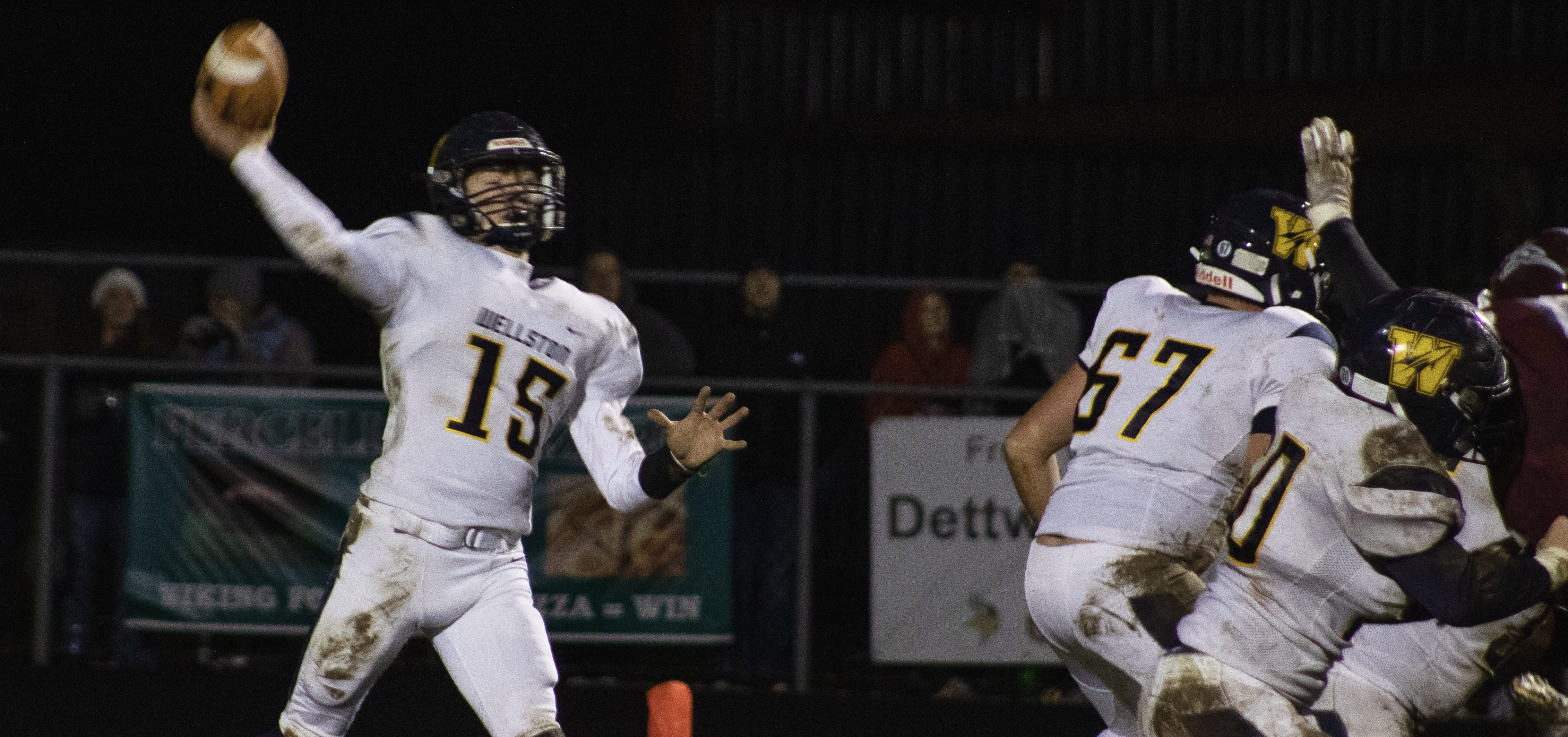 Wellston Golden Rockets quarterback R.J. Kemp throws down field during a week 10 game against Vinton County on November 11, 2019.