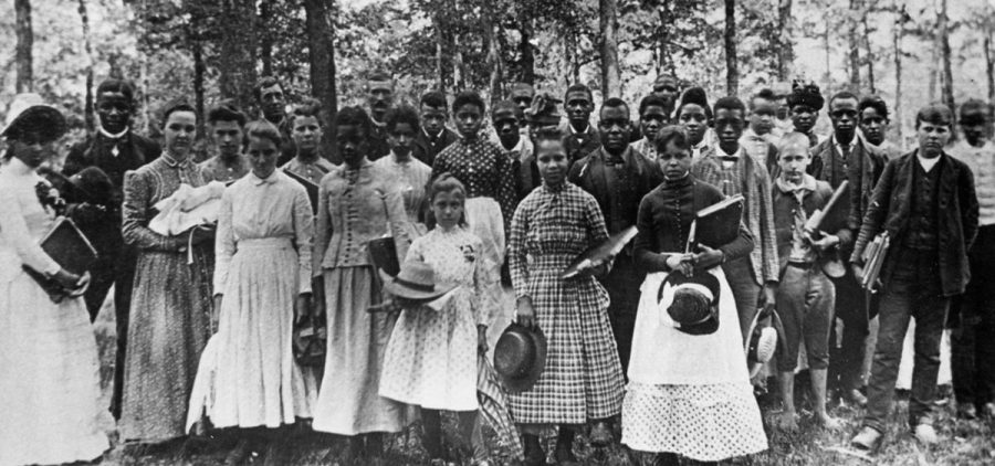 Students attending Berea College in 1887. Berea was the first interracial and coeducational college in the South.