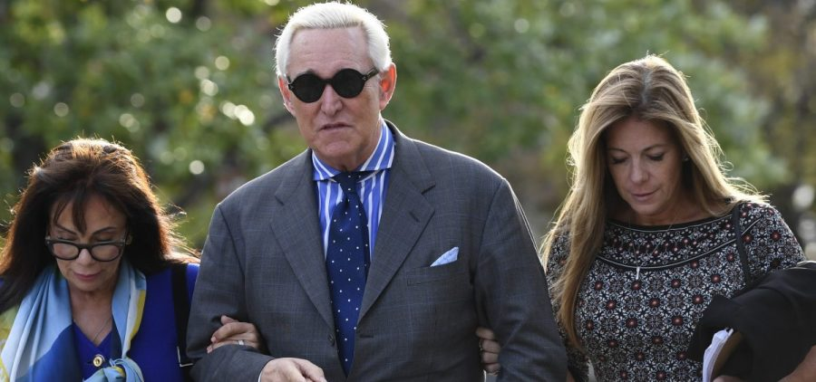 Roger Stone, his wife Nydia, left, and daughter Adria left federal court in Washington on Nov. 8, 2019. after his trial ended for the day.