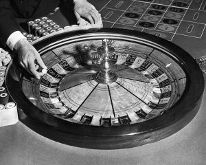 A Roulette Wheel in black and white