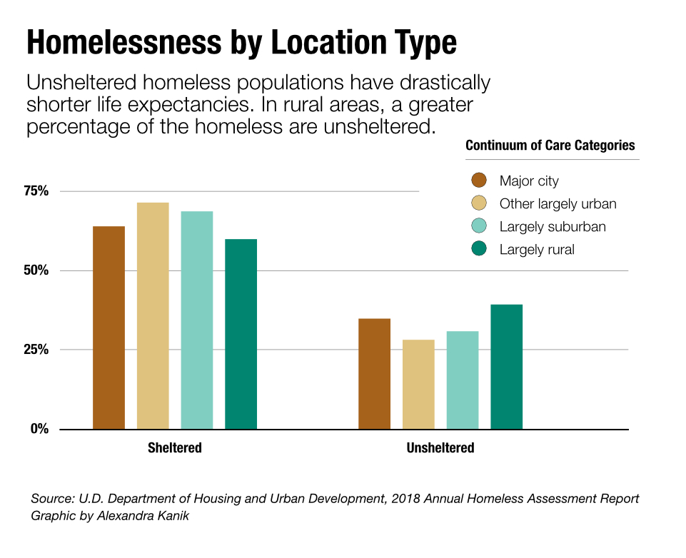 A graphic shows homelessness by location type