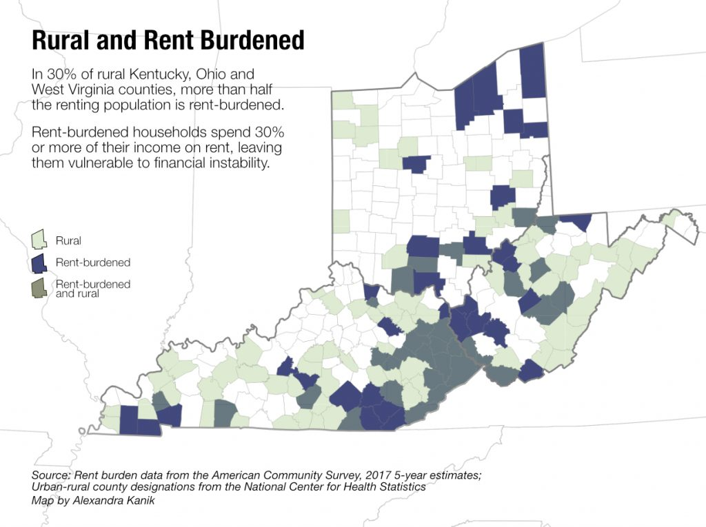 A map highlights rent-burdened areas