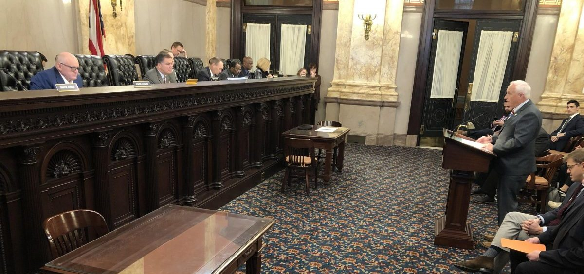 """Sen. Terry Johnson (R-McDermott) gives testimony for his bill, SB237, which removes the """"duty to retreat"""" before using lethal force in self-defense."""