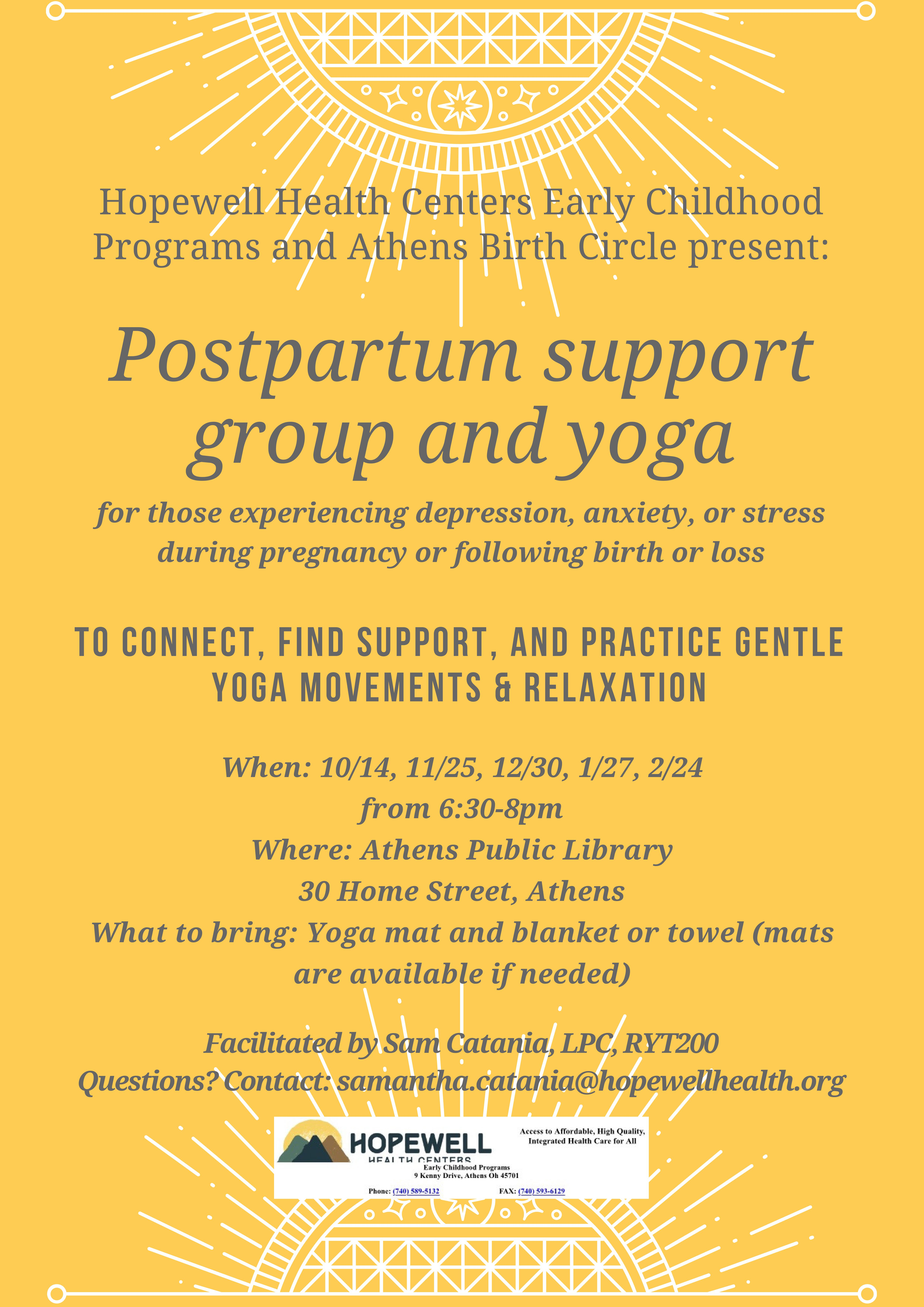 Post partum support group flier