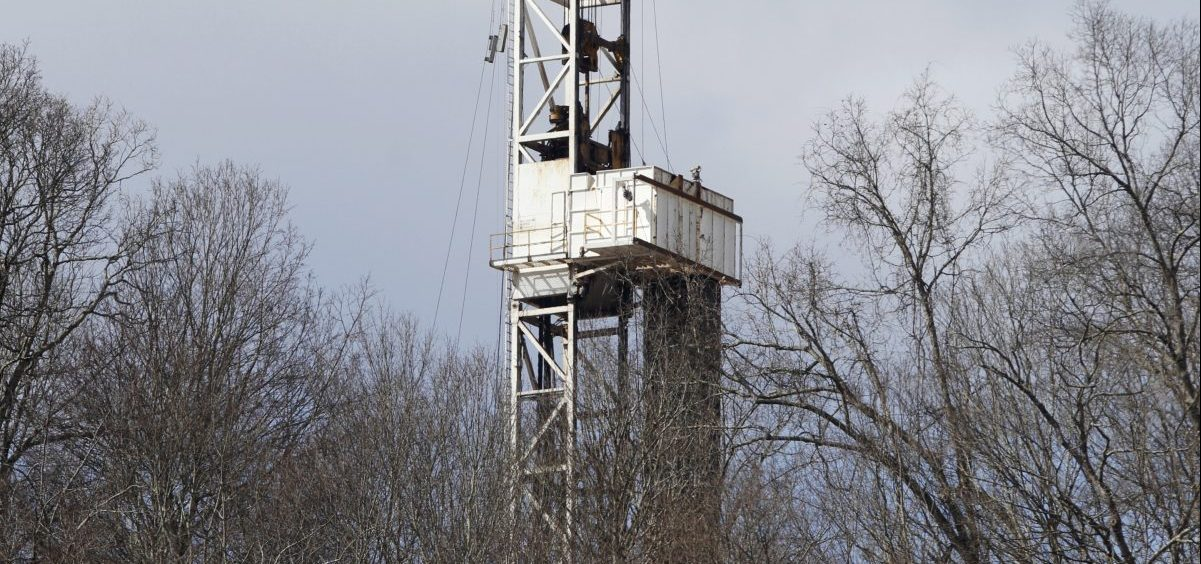 This March 15, 2018 photo shows a natural gas drill rig in Belmont County, Ohio.