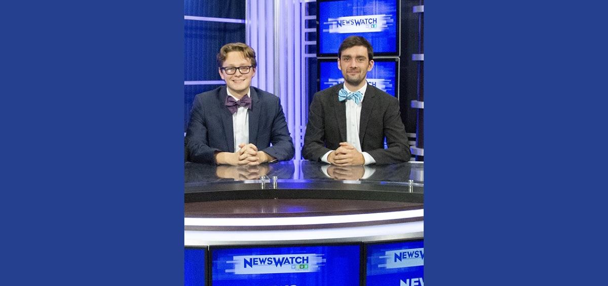 Ben Schwartz and Tyler Corbit on the Newswatch set