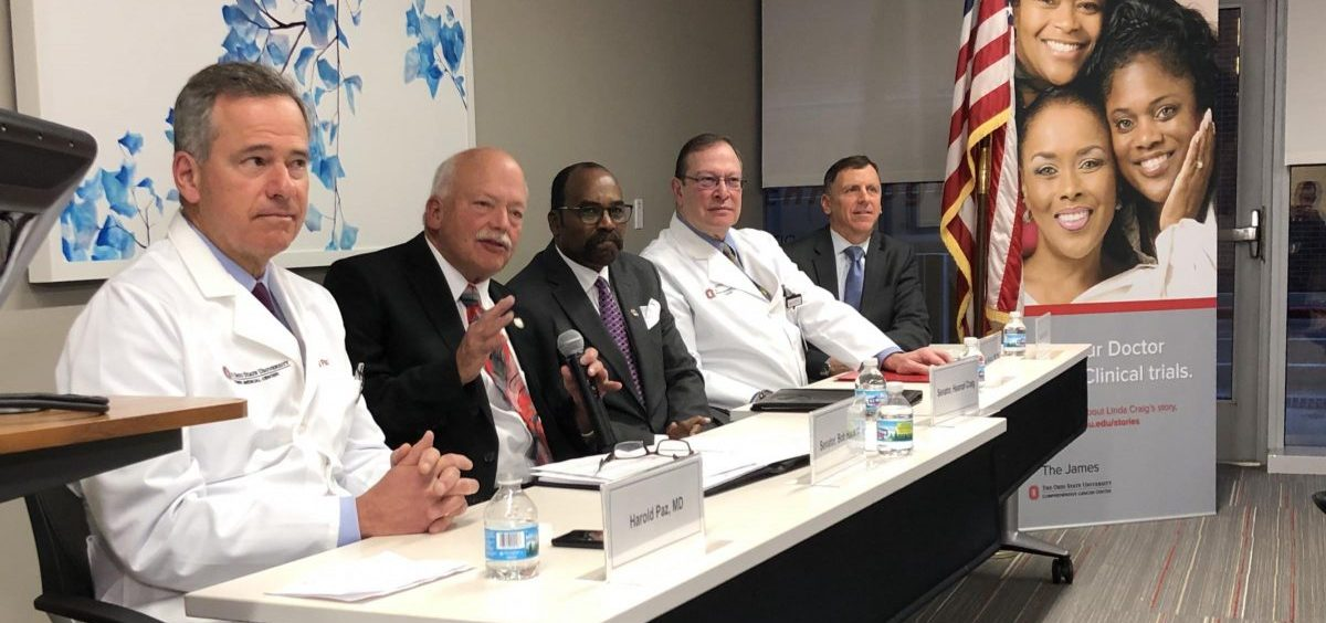 A panel of supporters talk about legislation that would stop insurance companies from requiring step therapy provisions for Stage IV cancer treatment.