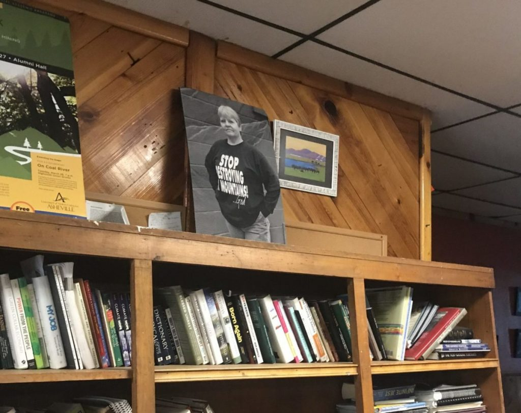 A photo of Judy Bonds inside Coal River Mountain Watch headquarters.