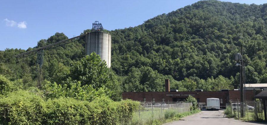 A coal silo near the old Marsh Fork Elementary School.