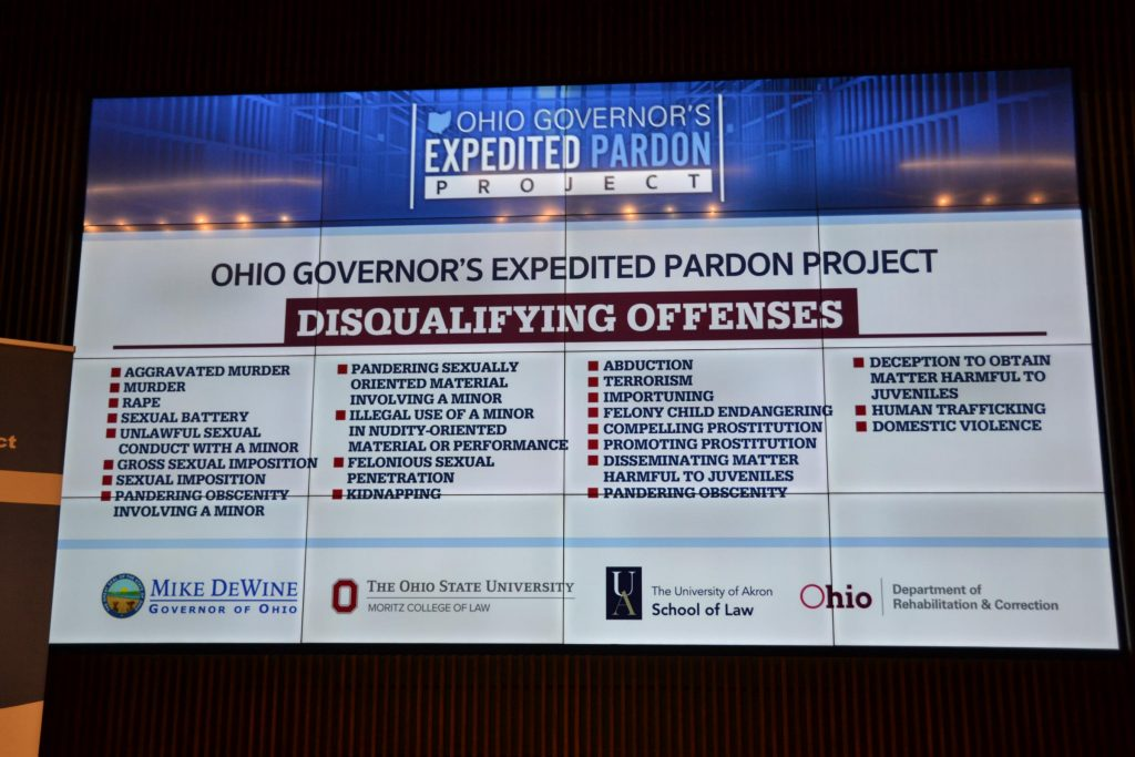 A list of offenses that would disqualify someone from the expedited pardon project.