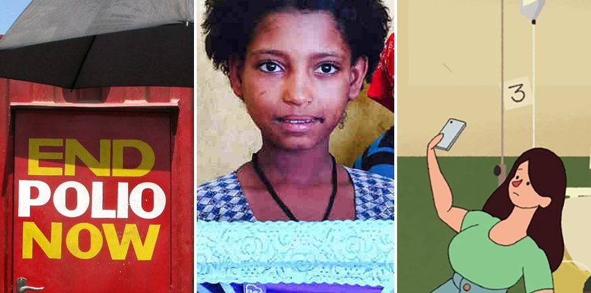 From left: Sekou Sheriff, of Barkedu village in Liberia, whose parents died at an Ebola treatment center; a polio vaccination booth in Pakistan; a schoolgirl in Ethiopia examines underwear with a pocket for a menstrual pad; an image from a video on the ethics of selfies; Consolata Agunga goes door-to-door as a community health worker in her village in Kenya.