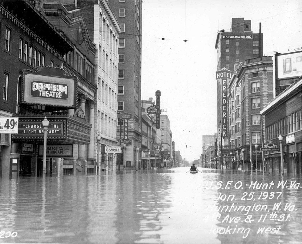 U.S. Army Corps of Engineers photo of Fourth Avenue in Huntington, West Virginia, during the 1937 flood.
