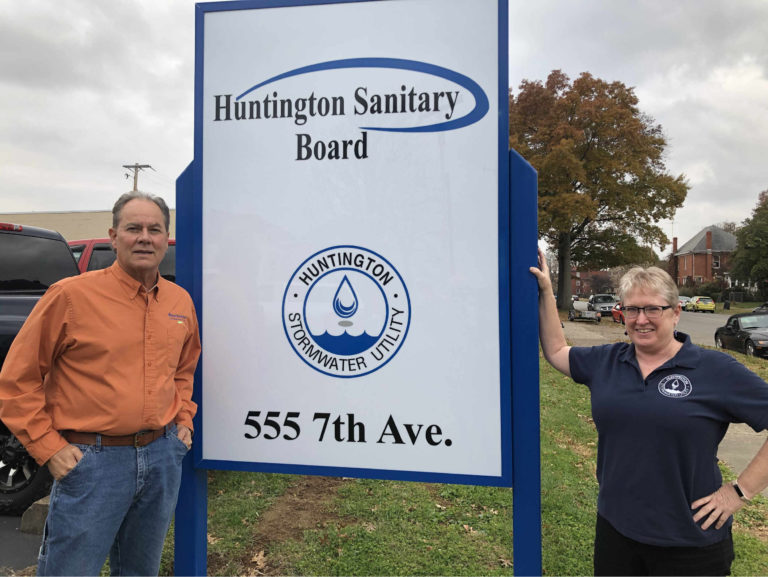 Stan Wonnell (left), floodwall coordinator for the Huntington Stormwater Utility, and Sherry Wilkins, director of the utility.