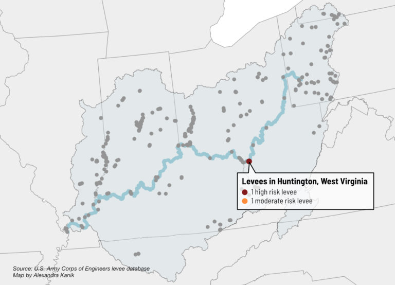 A map highlights levee risk in Huntington, West Virginia