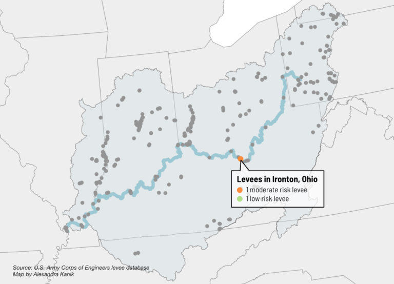 A map shows levee risk in Ironton, Ohio