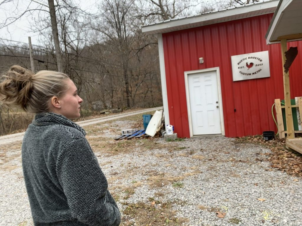 Isabella Back at her father's workshop in eastern Kentucky.