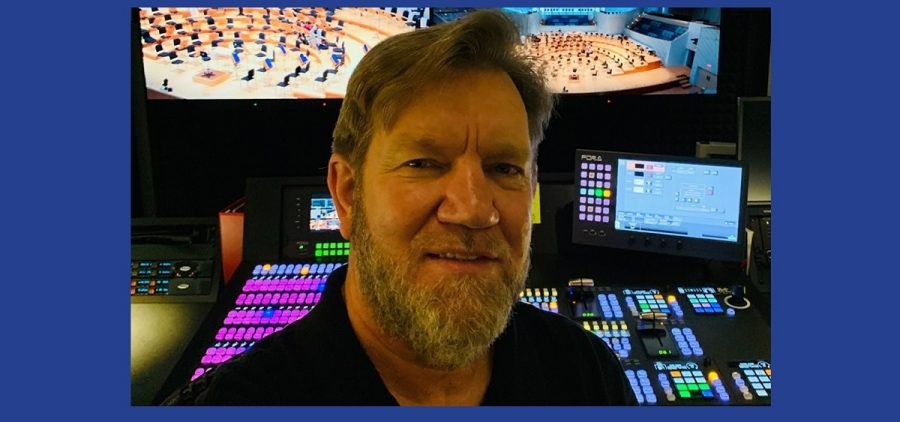 Headshot of Dan Slentz in production facilities at New World Symphony