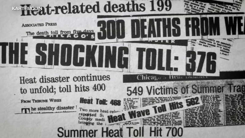 newspaper clippings of Chicago deaths from heatwave