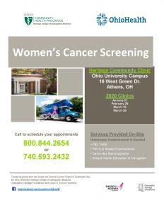 Women's Cancer Screening flier