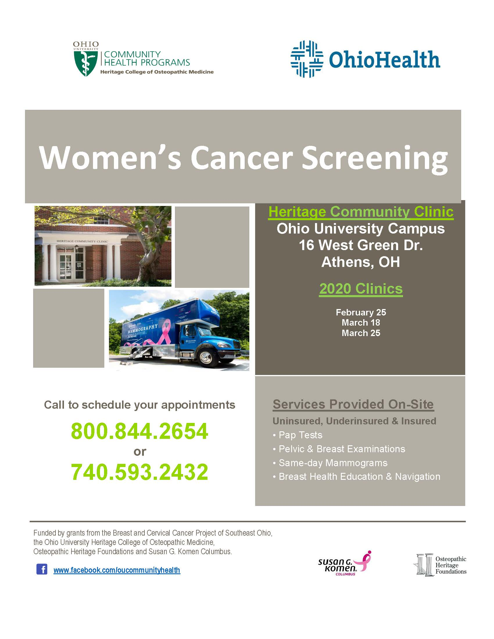 A flier for the women's cancer screening