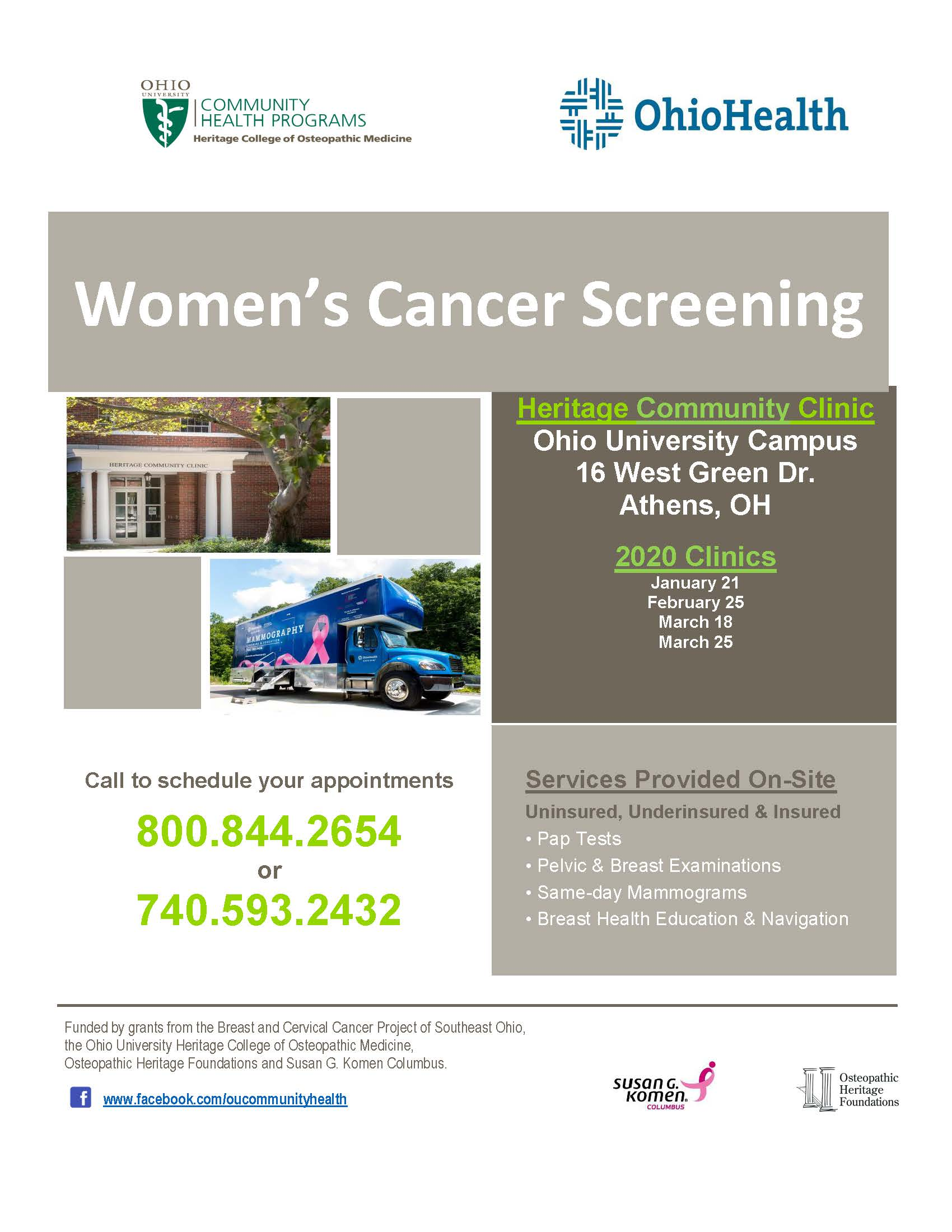 Women's Cancer Screening flier