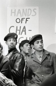 Young Lords members protest at the 18th Avenue Police Station in Chicago