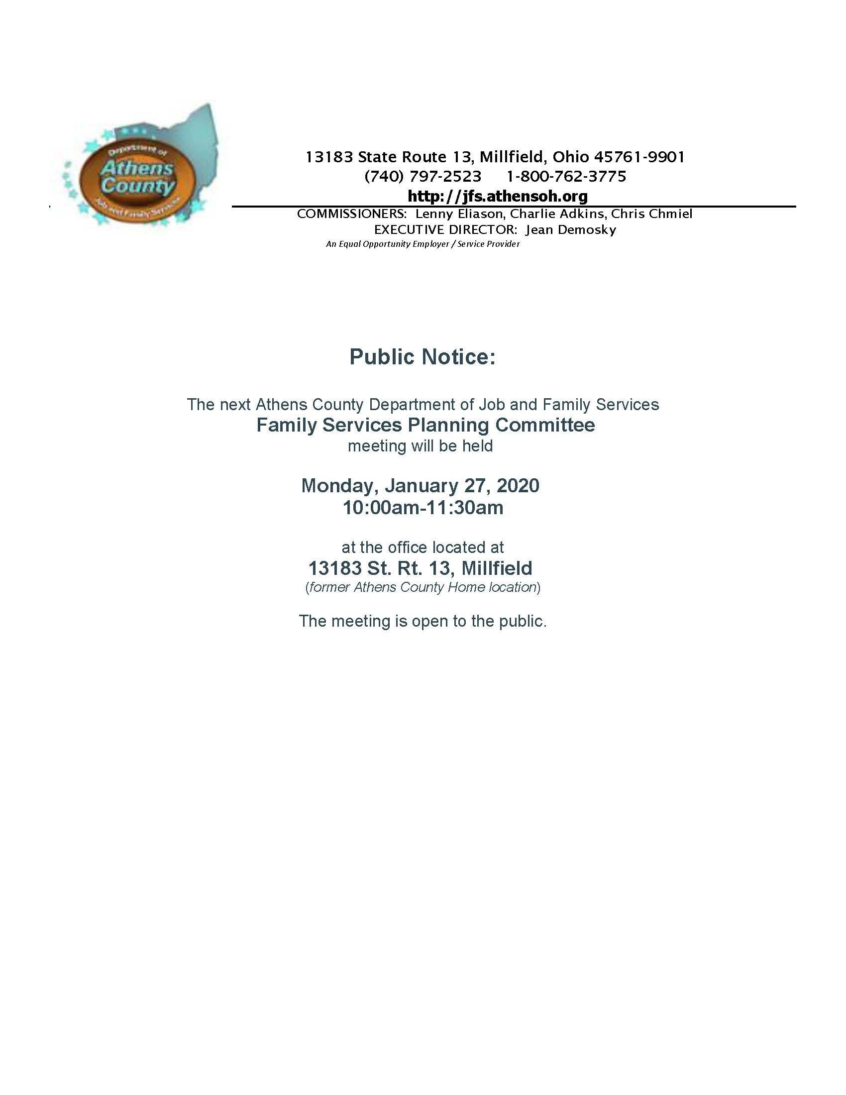 Family Panning Committee agenda