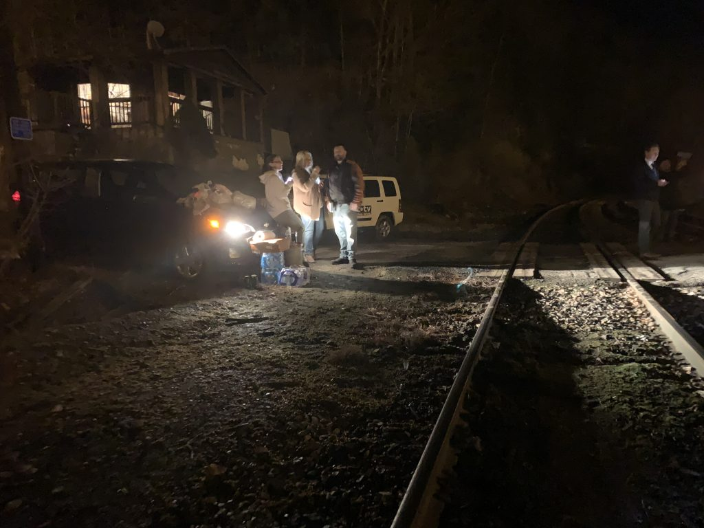 Miners and supporters block the railroad in Pike Co., KY