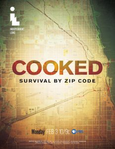 Teh word cooked over map of Chicago