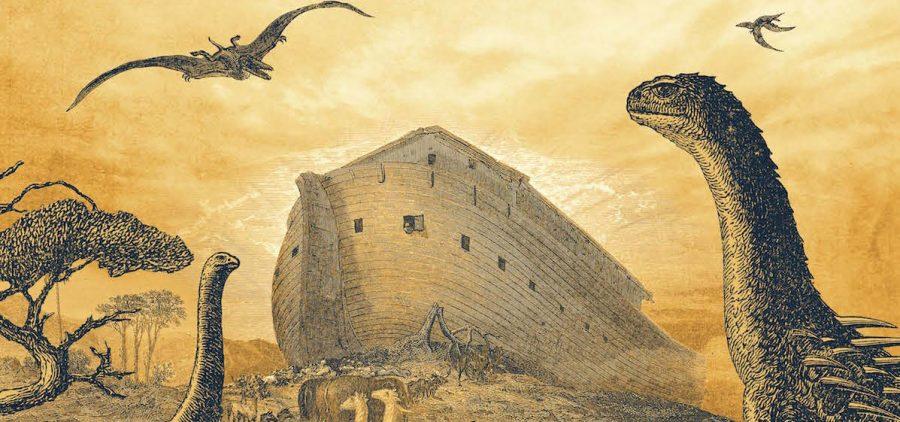 dinosaurs looking at Noah's Ark