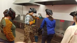 Women learn how to weld