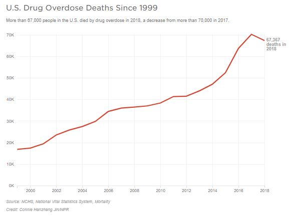 A graph shows overdose death numbers
