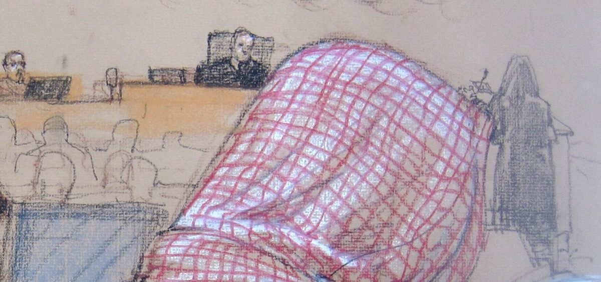 In this pool photo of a Pentagon-approved sketch by court artist Janet Hamlin, defendant Ali Abdul Aziz Ali, also known as Ammar al-Baluchi, attends his pretrial hearing along with other Sept. 11 defendants at Naval Station Guantanamo Bay in 2014.