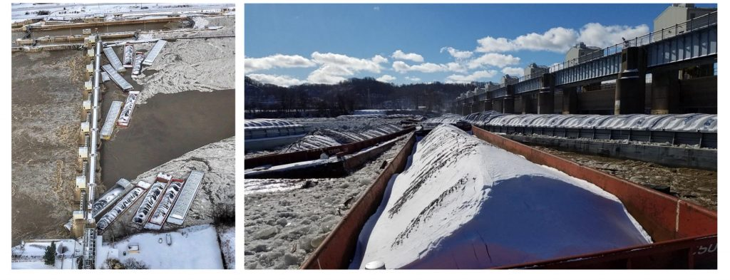 (left) Aerial photo of barges against the Emsworth Locks and Dam after the breakaway on Jan. 13, 2018. (right) Barges after striking the Emsworth Dam. (Photo by U.S. Coast Guard)