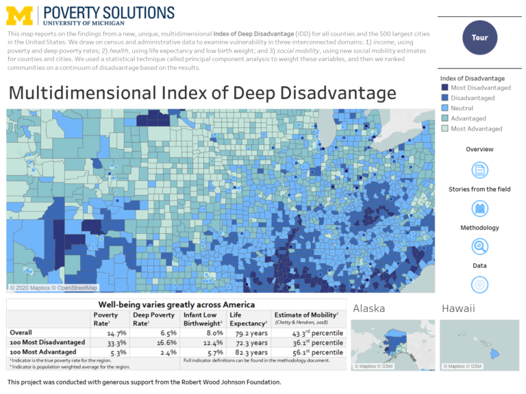 A map showing rates of deep disadvantage