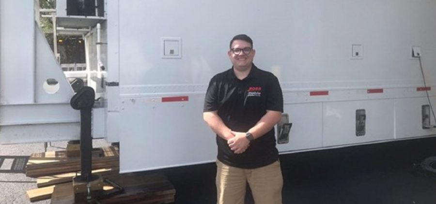 Wend in front of production truck