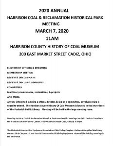 Harrison Coal and Reclamation Historial Park Meeting flier