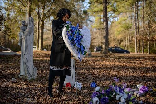 Claudia Lacy at graveyard