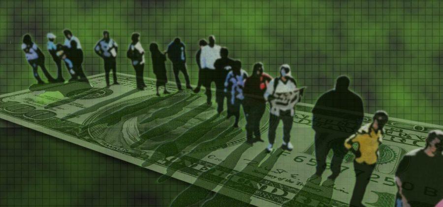 People stand in line on top of a superimposed dollar bill