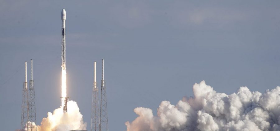 A Falcon 9 SpaceX rocket is launched