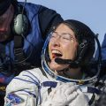 U.S. astronaut Christina Koch reacts shortly after the landing of the Russian Soyuz MS-13 space capsule about 150 km ( 80 miles) south-east of the Kazakh town of Zhezkazgan, Kazakhstan, Thursday, Feb. 6, 2020.