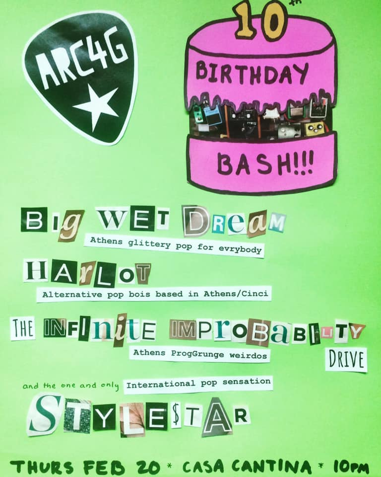 Athens Rock Camp for Girls 10th Birthday Bash flier